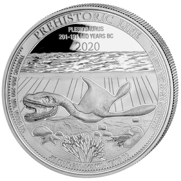 (W180.20.F.2020.1.oz.Ag.3) 20 Francs Congo 2020 1 oz silver - Plesiosaurus Reverse (zoom)