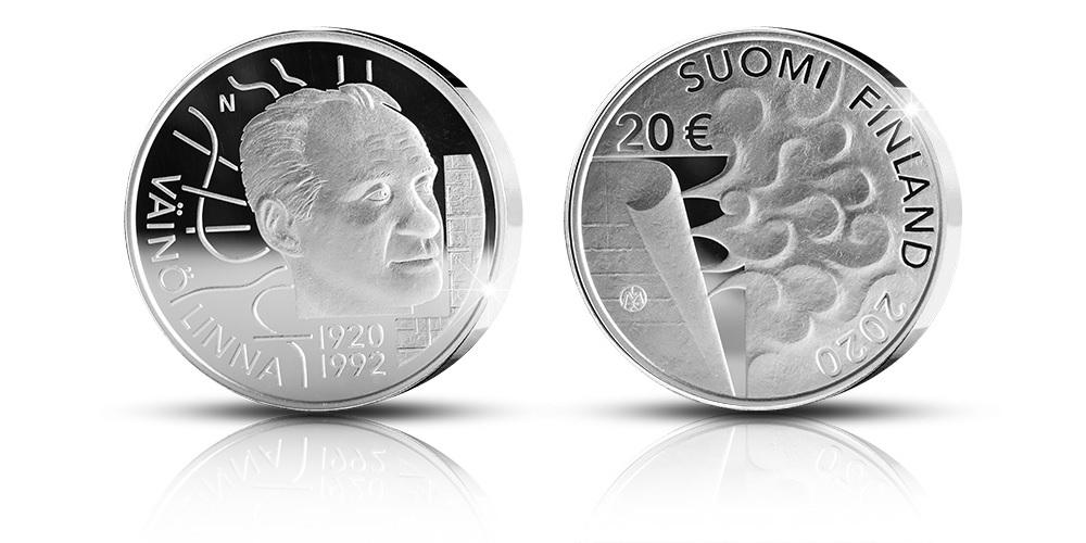 (EUR06.ComBU&BE.2020.2000.BE.COM1) 20 euro Finland 2020 Proof silver - Väinö Linna (zoom)