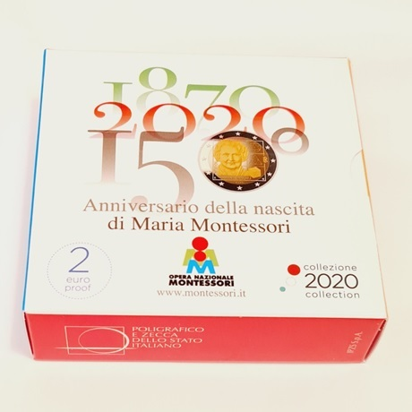 (EUR10.ComBU&BE.2020.48-2MS10-20P004.000000001) 2 euro Italie 2020 BE - Maria Montessori (boîte)