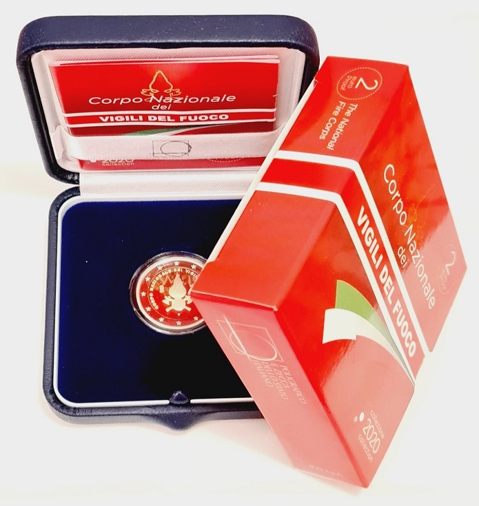(EUR10.ComBU&BE.2020.48-2MS10-20P005.000000001) 2 euro Italy 2020 Proof - Fire Corps (case) (zoom)