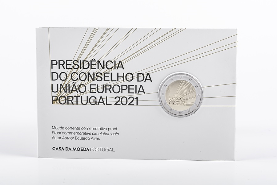 (EUR15.ComBU&BE.2021.1022847) 2 euro Portugal 2021 Proof - Presidency of the Council of EU (zoom)