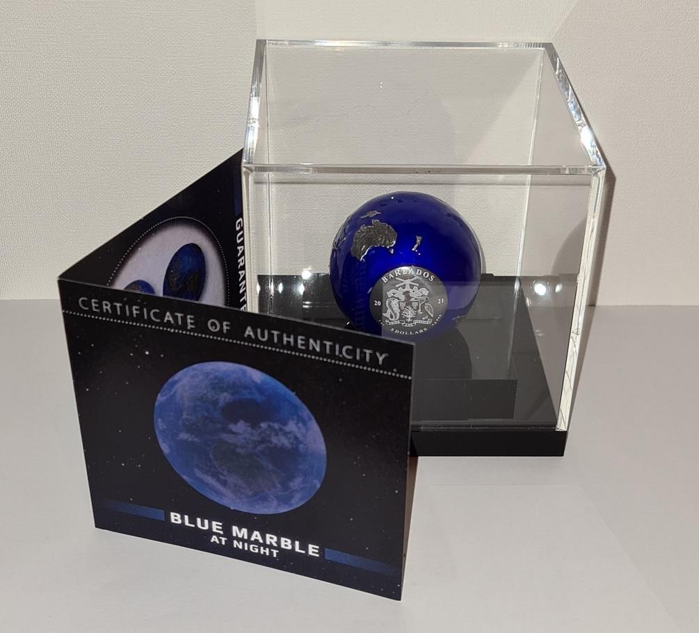 (W022.5.D.2021.3.oz.Ag.2) 5 Dollars Barbados 2021 3 oz BU Ag - Blue Marble at Night (base) (zoom)