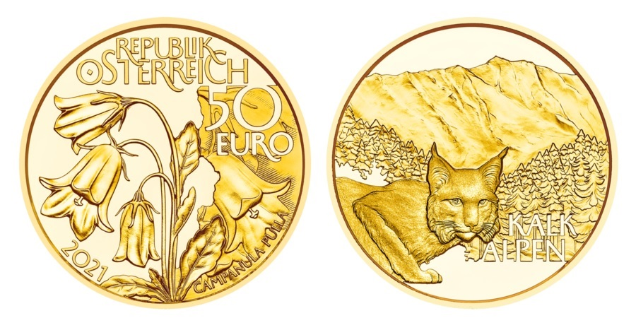 (EUR01.ComBU&BE.2021.25137) 50 euro Austria 2021 Proof gold - Alpine forests (zoom)