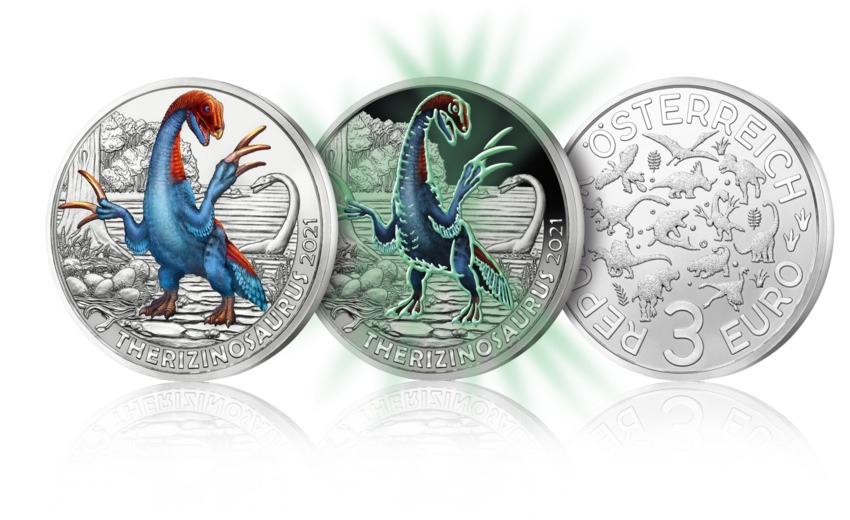 (EUR01.ComBU&BE.2021.25138) 3 euro Austria 2021 - Therizinosaurus (glow-in-the-dark) (zoom)