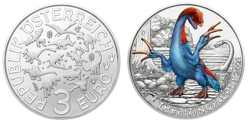 (EUR01.ComBU&BE.2021.25138) 3 euro Austria 2021 - Therizinosaurus (zoom)
