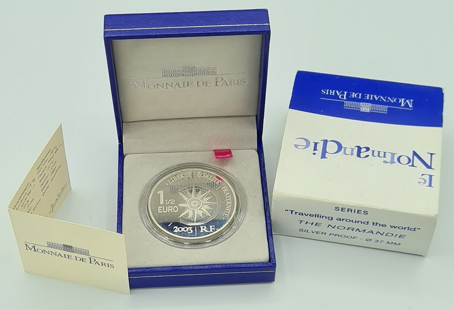(EUR07.ComBU&BE.2003.10041224580000.000000001) 1.50 euro France 2003 Proof Ag - The Normandy Reverse (zoom)