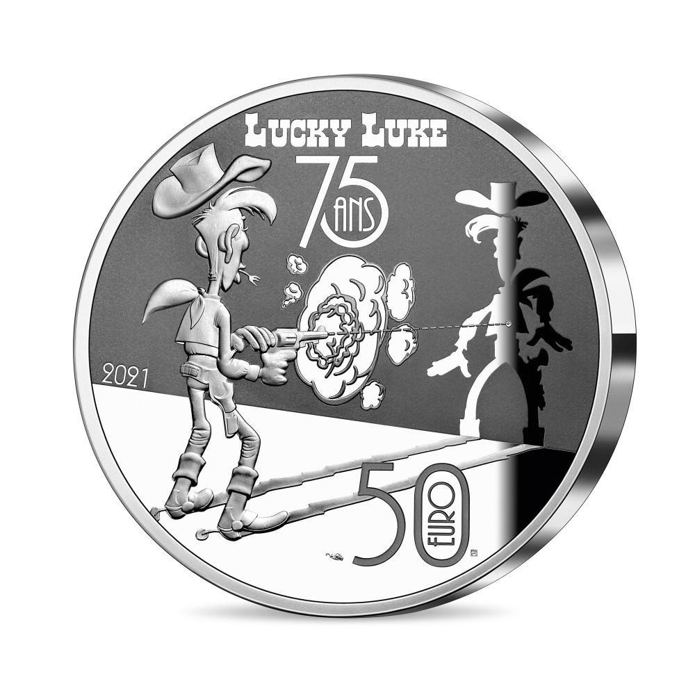 (EUR07.ComBU&BE.2021.10041356260000) 50 euro France 2021 Proof Ag - Lucky Luke Reverse (zoom)
