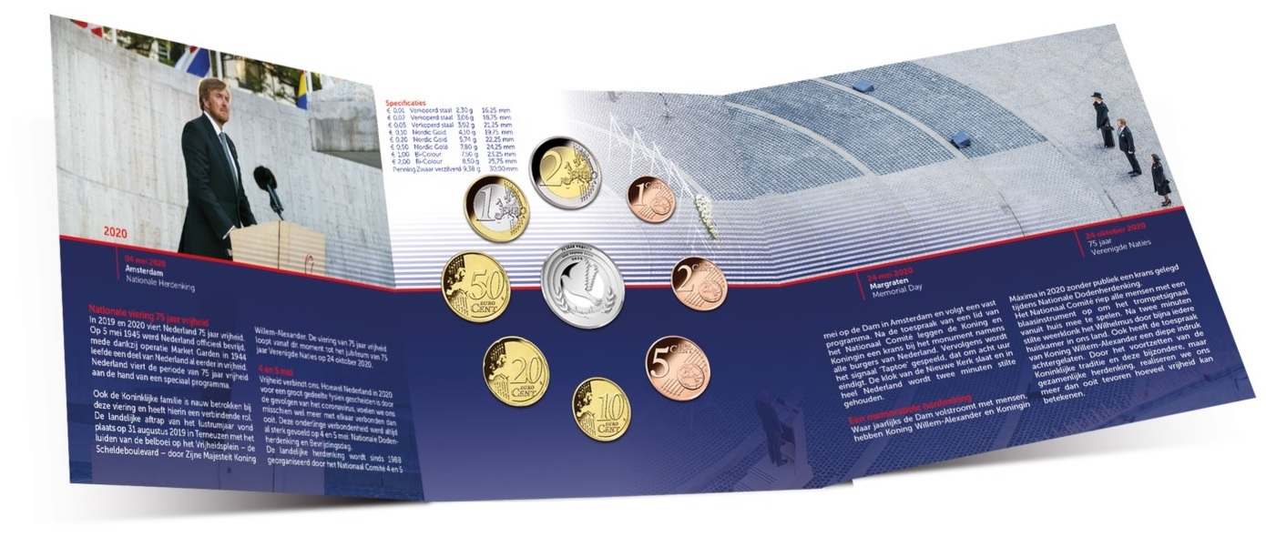 (EUR14.CofBU&FDC.2020.0109281) BU coin set Netherlands 2020 - Peace and freedom (open) (zoom)