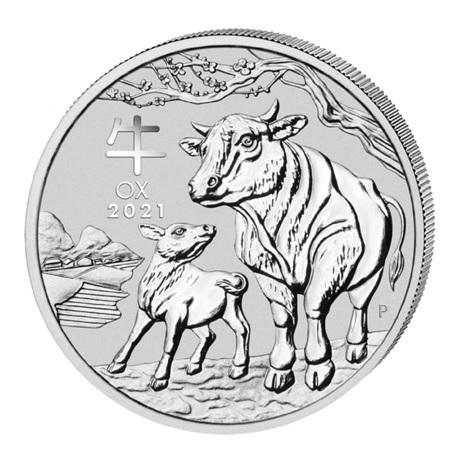 (W017.1.D.2021.1.oz.Ag.5) 1 Dollar Australie 2021 1 once argent - Année du Bœuf Revers