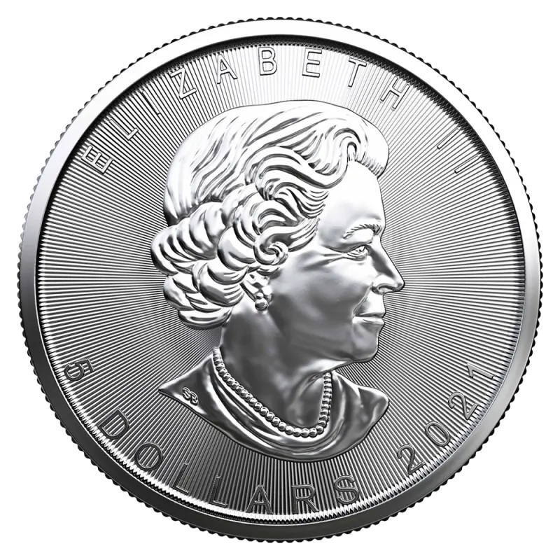 (W037.5.D.2021.1.oz.Ag.1) 5 Dollars Canada 2021 1 oz silver - Maple leaf Obverse (zoom)
