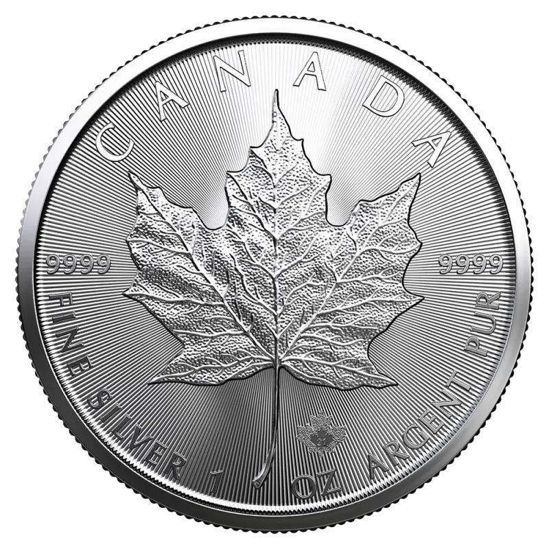 (W037.5.D.2021.1.oz.Ag.1) 5 Dollars Canada 2021 1 oz silver - Maple leaf Reverse (zoom)