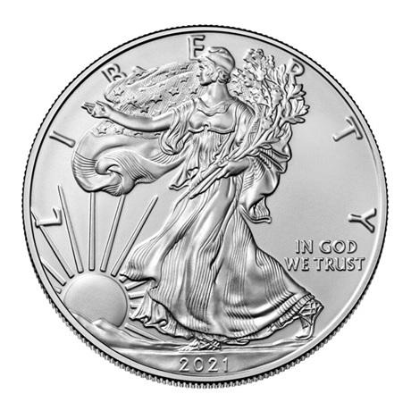(W071.1.D.2021.1.oz.Ag.1) 1 Dollar Etats-Unis 2021 1 once argent - Aigle américain Avers