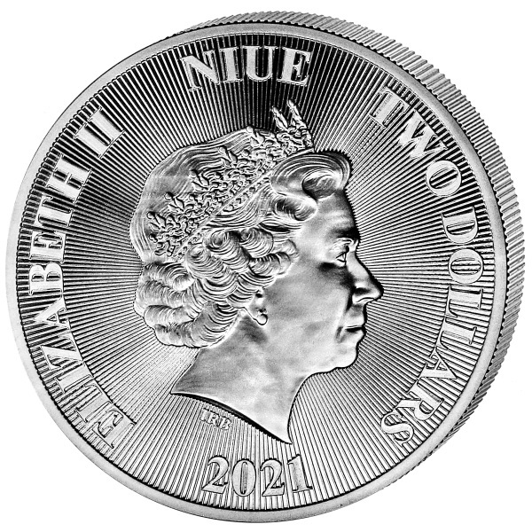(W160.200.2021.1.oz.Ag.2) 2 Dollars Niue 2021 1 oz BU silver - Tree of Life Obverse (zoom)