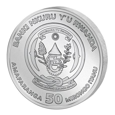 (W188.50.F.2021.1.oz.Ag.1) 50 Francs Rwanda 2021 1 once argent BU - Okapi Avers