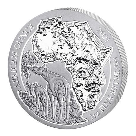 (W188.50.F.2021.1.oz.Ag.1) 50 Francs Rwanda 2021 1 once argent BU - Okapi Revers