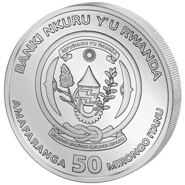 (W188.50.F.2021.1.oz.Ag.1) 50 Francs Rwanda 2021 1 oz BU silver - Okapi Obverse (zoom)