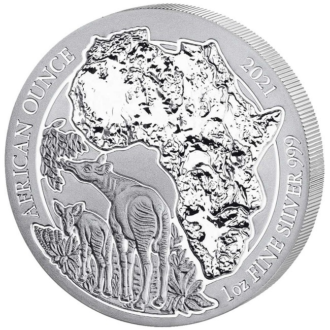 (W188.50.F.2021.1.oz.Ag.1) 50 Francs Rwanda 2021 1 oz BU silver - Okapi Reverse (zoom)