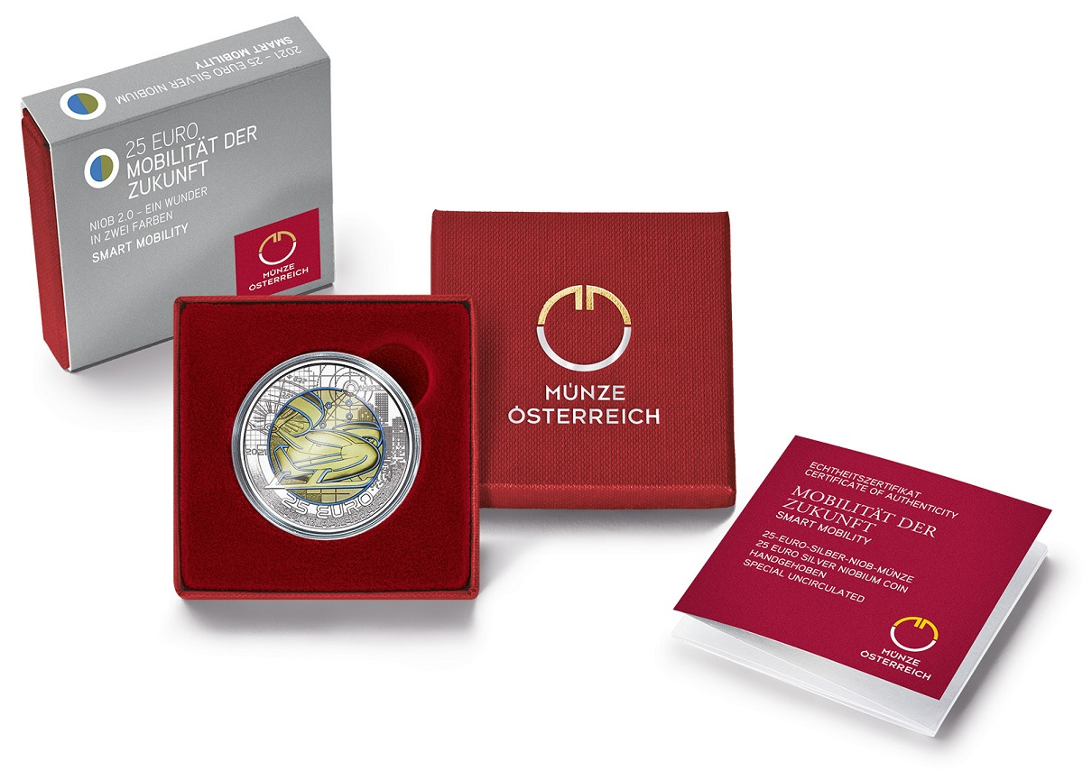 (EUR01.ComBU&BE.2021.25141) 25 euro Austria 2021 BU silver and niobium - Smart mobility (case) (zoom)