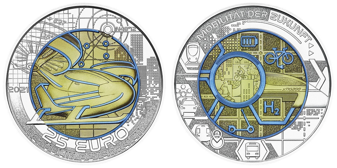 (EUR01.ComBU&BE.2021.25141) 25 euro Austria 2021 BU silver and niobium - Smart mobility (zoom)