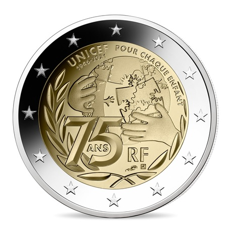 (EUR07.ComBU&BE.2021.10041355030000) 2 euro commémorative France 2021 BE - UNICEF Avers