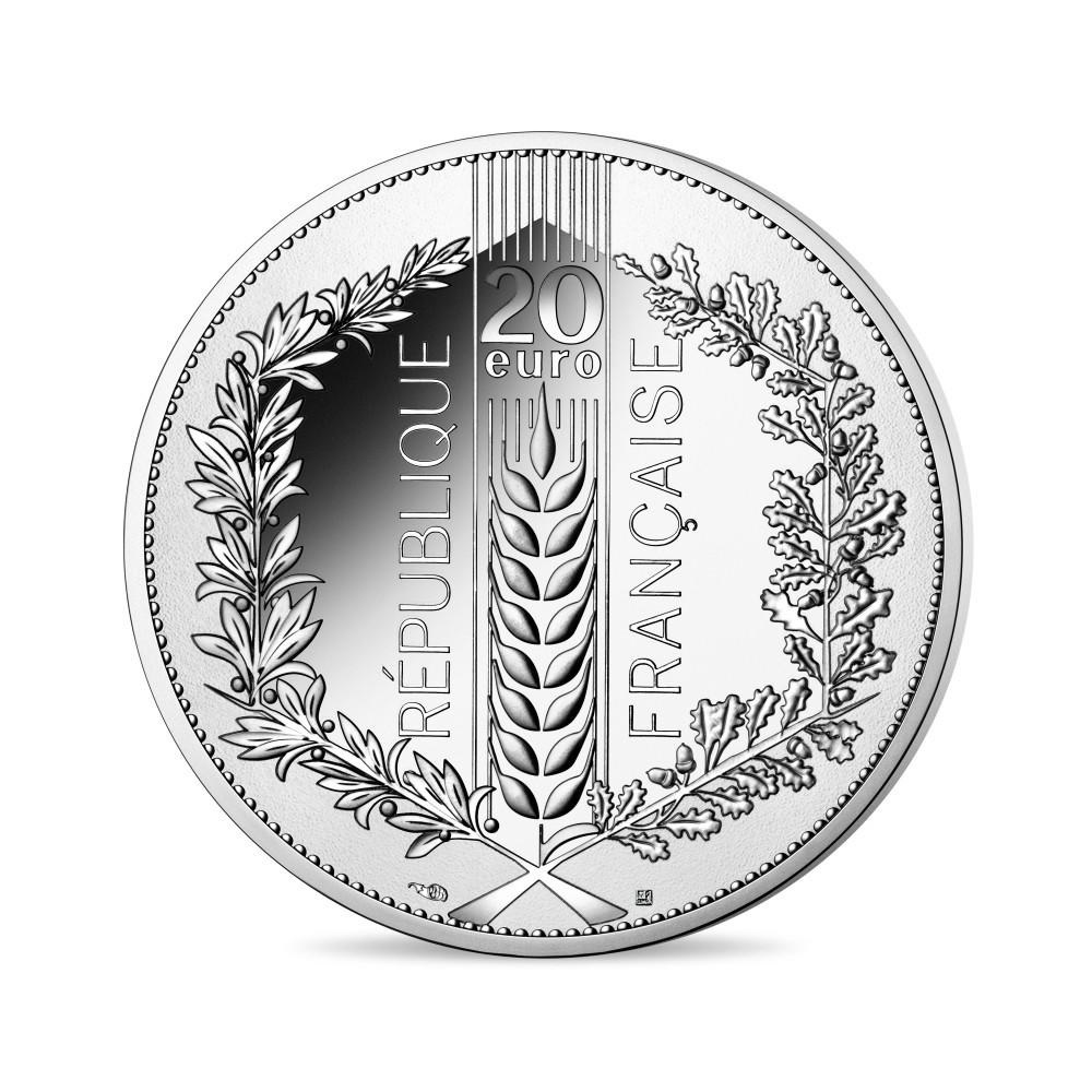 (EUR07.ComBU&BE.2021.10041355390000) 20 euro France 2021 Proof silver - Laurel Reverse (zoom)