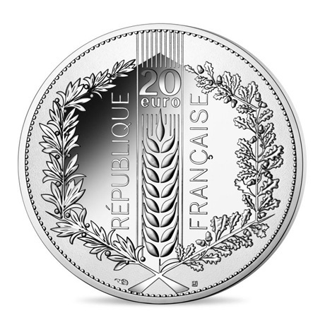 (EUR07.ComBU&BE.2021.10041355390000) 20 euro France 2021 argent BE - Laurier Revers