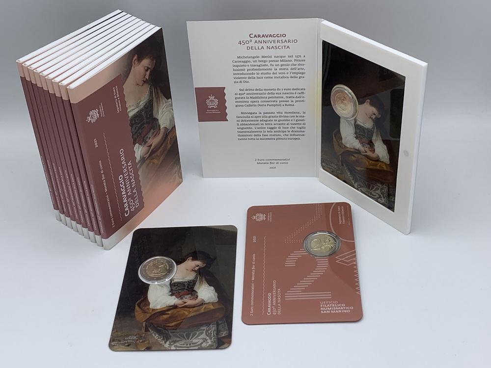 (EUR18.ComBU&BE.2021.200.332) 2 euro San Marino 2021 BU - Caravaggio (packaging) (zoom)
