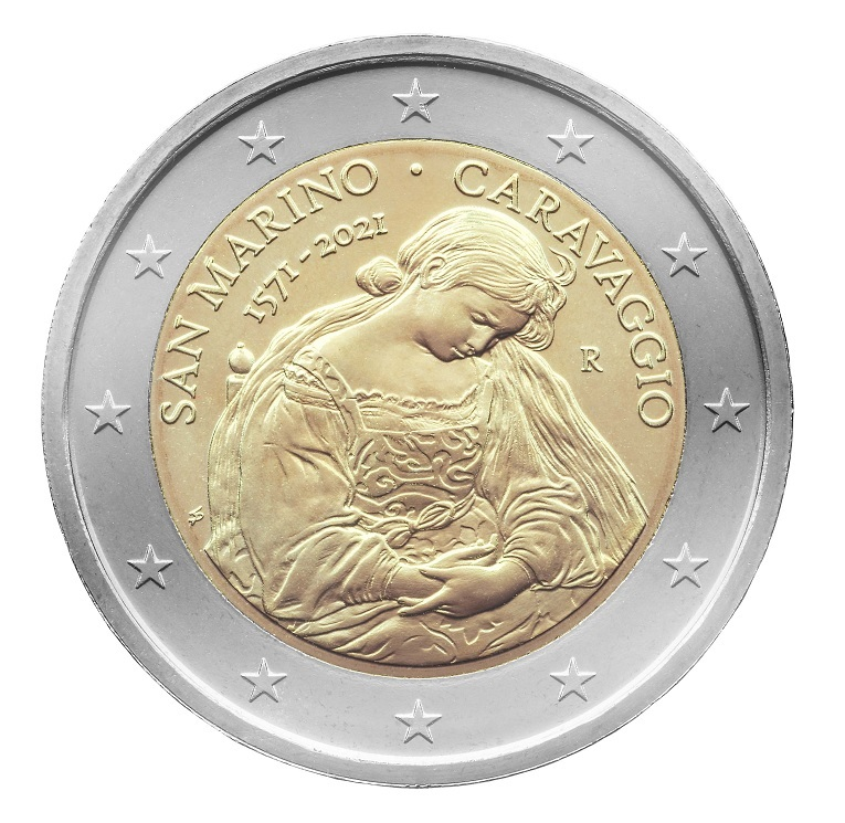 (EUR18.ComBU&BE.2021.200.332) 2 euro San Marino 2021 BU - Caravaggio (zoom)