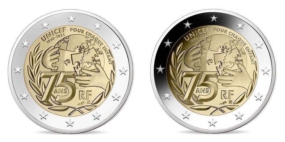 (LOT.EUR07.ComBU&BE.2021.10041355040000.&.10041355030000) 2 euro France 2021 - UNICEF (2 coins lot) Obverses (zoom)
