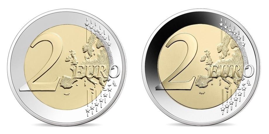 (LOT.EUR07.ComBU&BE.2021.10041355040000.&.10041355030000) 2 euro France 2021 - UNICEF (2 coins lot) Reverses (zoom)