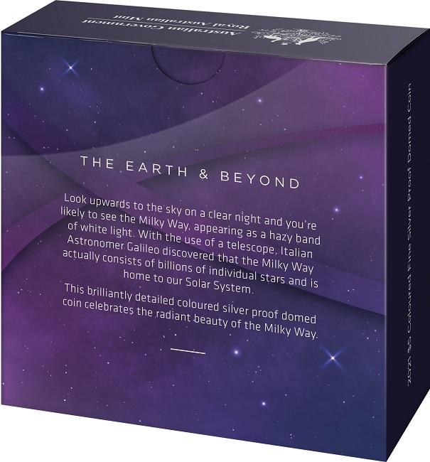 (W017.5.D.2021.10639) 5 Dollars Australia 2021 1 ounce Proof Ag - Milky Way (box back) (zoom)