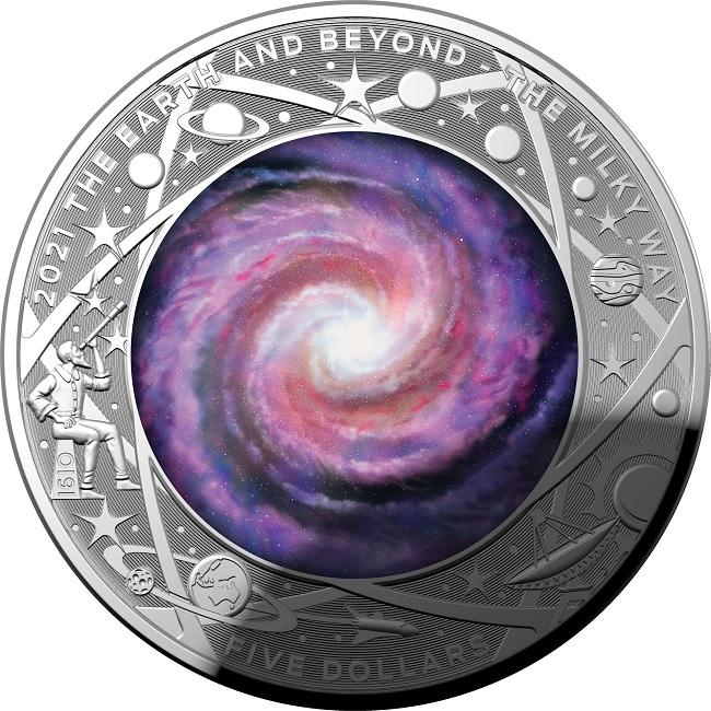 (W017.5.D.2021.10639) 5 Dollars Australia 2021 1 oz Proof silver - Milky Way Reverse (zoom)