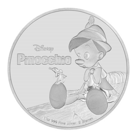 (W160.2.D.2018.30-00720) 2 Dollars Niue 2018 1 once argent BE - Pinocchio Revers