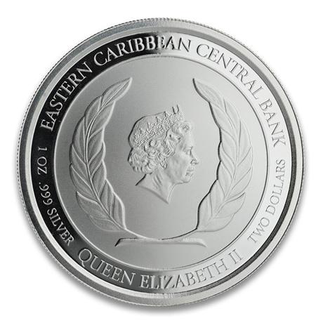 (W189.2.2.D.2020.1.oz.Ag.1) 2 Dollars Saint-Kitts-et-Nevis 2020 1 once Ag BU - Brimstone Hill Avers