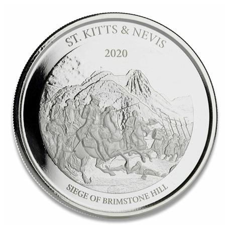 (W189.2.2.D.2020.1.oz.Ag.1) 2 Dollars Saint-Kitts-et-Nevis 2020 1 once Ag BU - Brimstone Hill Revers