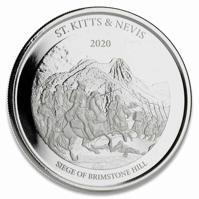 (W189.2.2.D.2020.1.oz.Ag.1) 2 Dollars St Kitts & Nevis 2020 1 oz BU Ag - Brimstone Hill Reverse (zoom)