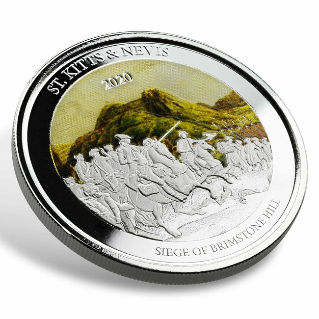 (W189.2.2.D.2020.1.oz.Ag.2) 2 $ St Kitts & Nevis 2020 1 ounce Proof Ag - Brimstone Hill (edge) (zoom)