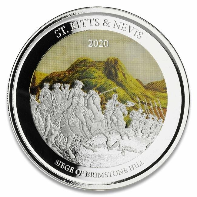 (W189.2.2.D.2020.1.oz.Ag.2) 2 $ St Kitts & Nevis 2020 1 oz Proof Ag - Brimstone Hill Reverse (zoom)