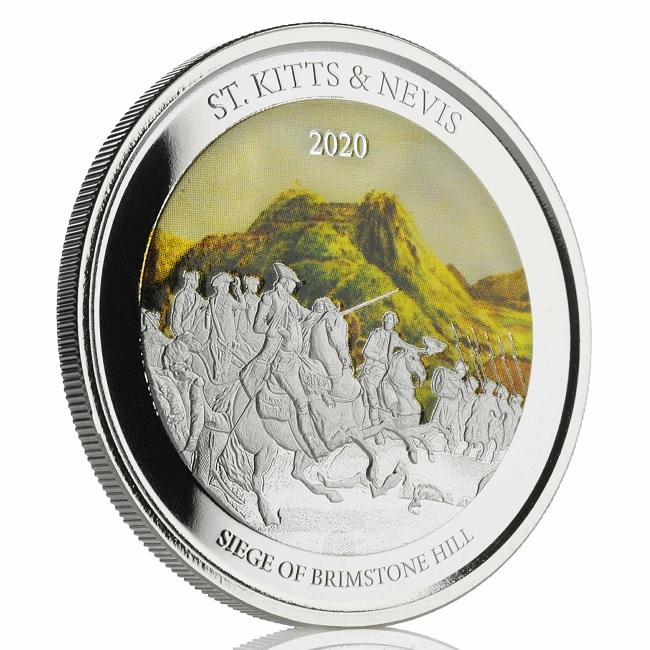 (W189.2.2.D.2020.1.oz.Ag.2) 2 $ St Kitts & Nevis 2020 1 oz Proof Ag - Brimstone Hill (edge) (zoom)