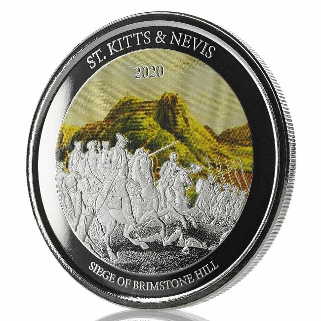 (W189.2.2.D.2020.1.oz.Ag.2) 2 $ St Kitts & Nevis 2020 1 oz Proof silver - Brimstone Hill (edge) (zoom)