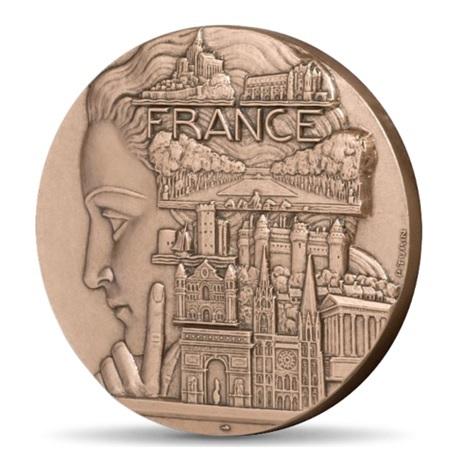 (FMED.Méd.MdP.CuSn.100100334800P0) Médaille bronze - France touristique, par Turin Avers