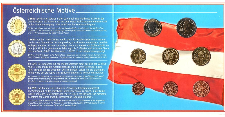 (EUR01.BU.set.2002) BU coin set Austria 2002 (obverses) (zoom)