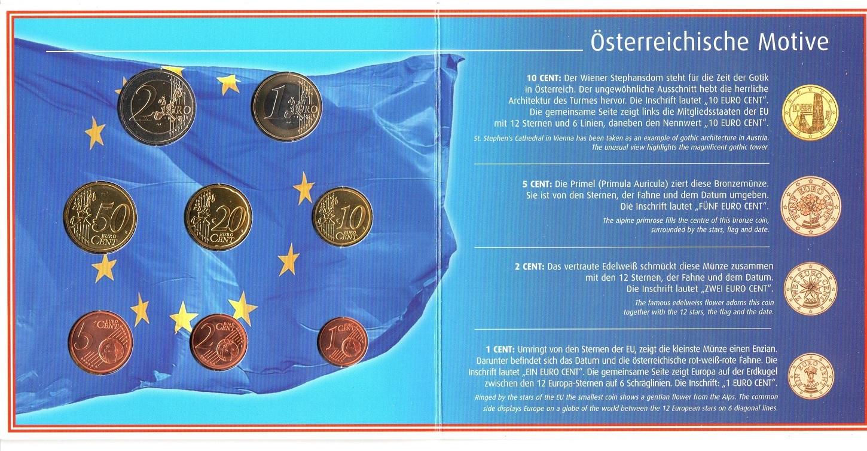 (EUR01.BU.set.2002) BU coin set Austria 2002 (reverses) (zoom)