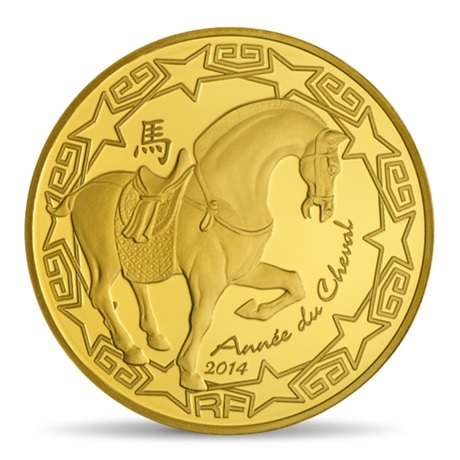 (EUR07.ComBU&BE.2014.10041282380000) 50 euro France 2014 or BE - Année du Cheval Avers