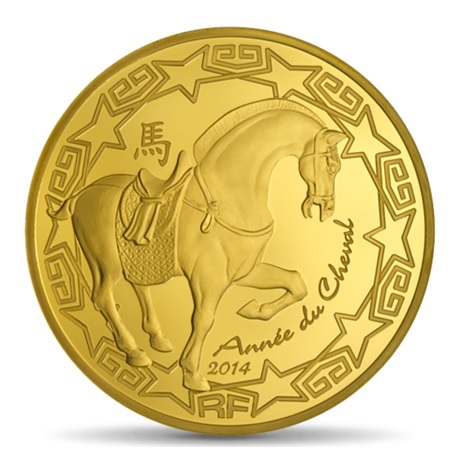(EUR07.ComBU&BE.2014.10041285790000) 200 euro France 2014 or BE - Année du Cheval Avers