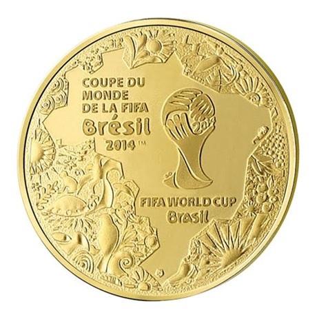 5 euro France 2014 or BE - Coupe du monde de football Avers