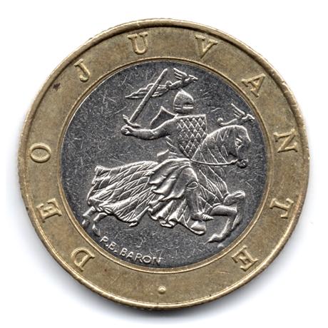 (W150.1000.1991.1.11.000000001) 10 Francs Sceau des Grimaldi 1991 Avers