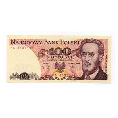 (BILLS175.100Z.1988.1.1988_12_01.PN.4135115) 100 Zlotych Ludwik Waryński 1988 Recto