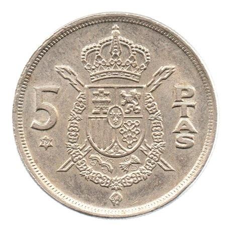 (W064.005.1975.1.3.sup.000000001) 5 Pesetas Juan Carlos Ier 1975 (79 dans l'étoile) Revers