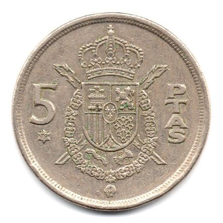 (W064.005.1975.1.3.tb.plus.000000001) 5 Pesetas Juan Carlos Ier 1975 (79 dans l'étoile) Revers